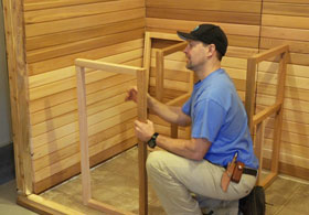 Lay Sauna Benches in Place