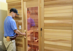 Sauna Door Handle & Setting the Self-closing Hinges